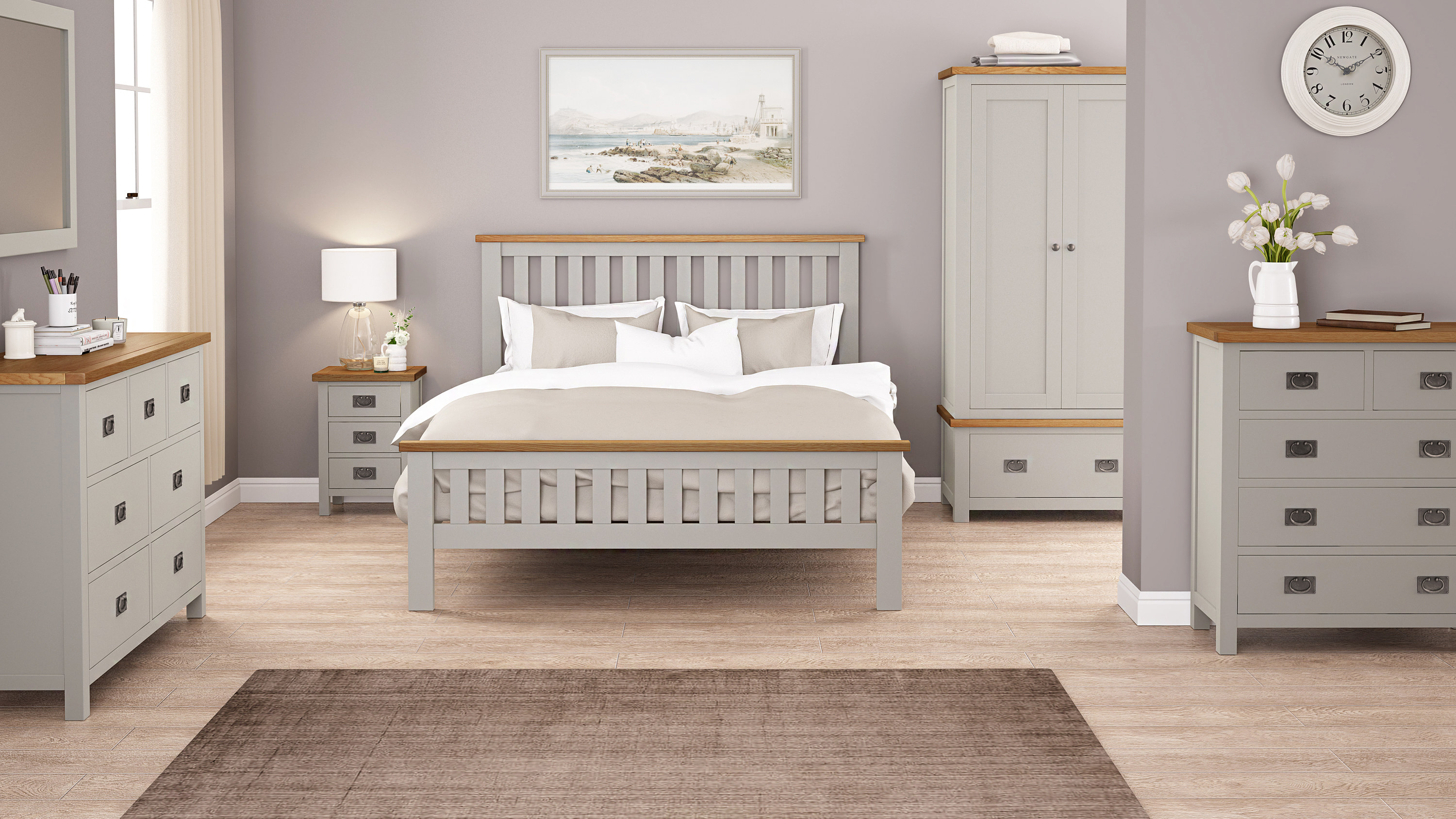 Rustique Home Sicily Bedroom Furniture with oak bed, chest of drawers, storage box, wardrobe and bedside table