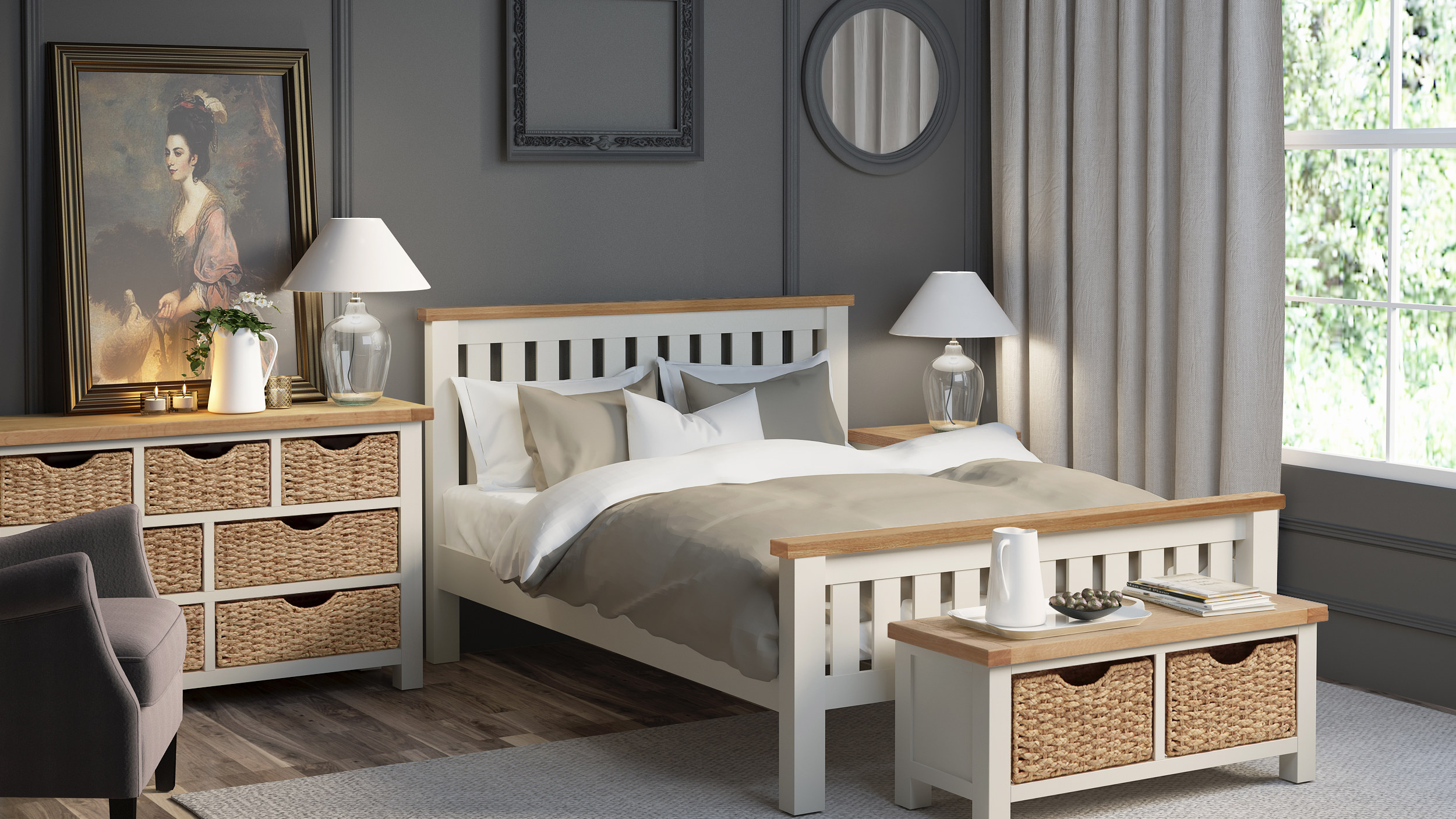 Rustique Home Florence Painted Oak Bed in Cream and Natural Oak double tone color