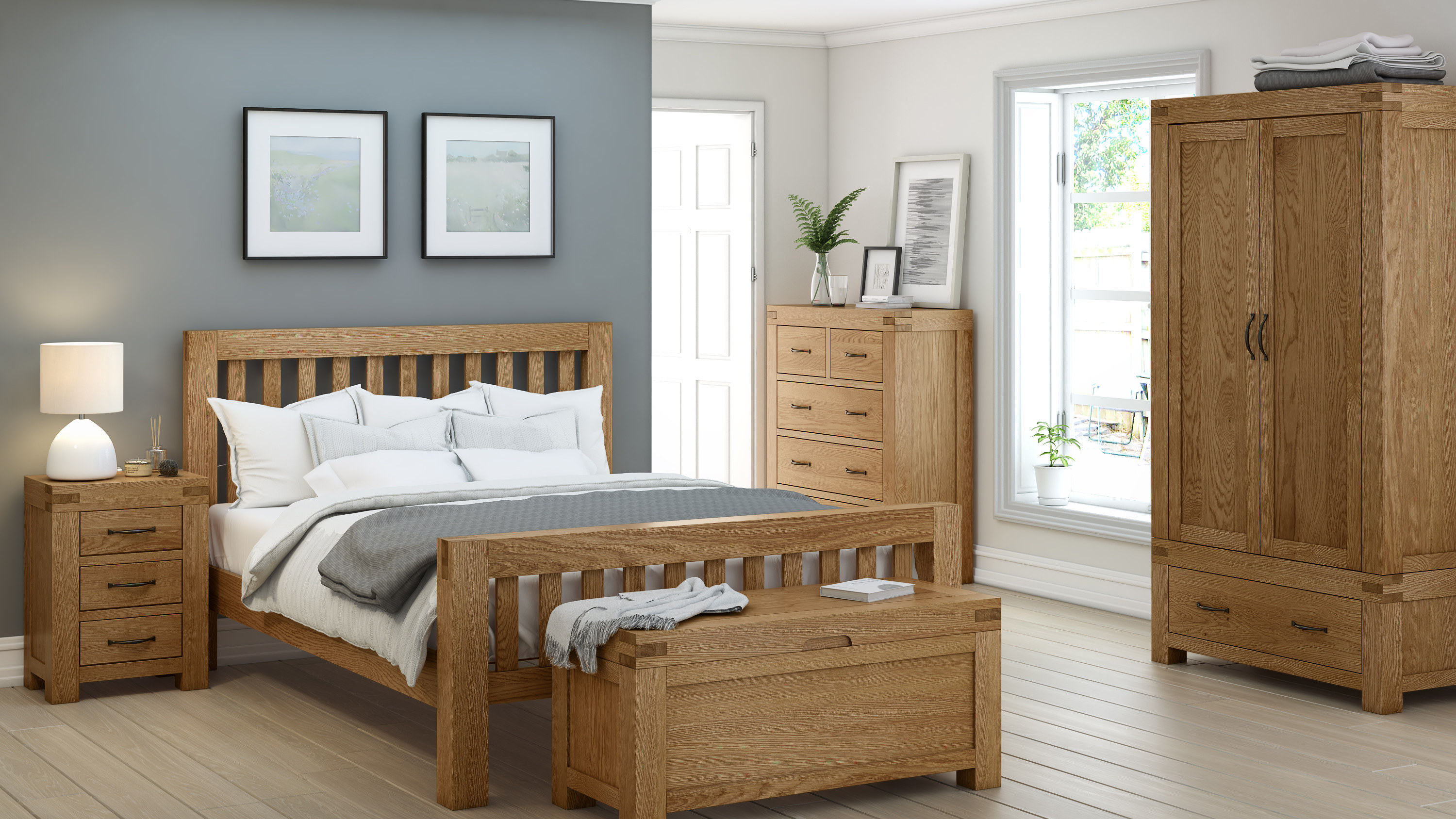 Rustique Home Roma bedroom shot with 100% rustic look with Oak bed, chest of drawers, storage box, wardrobe and bedside table