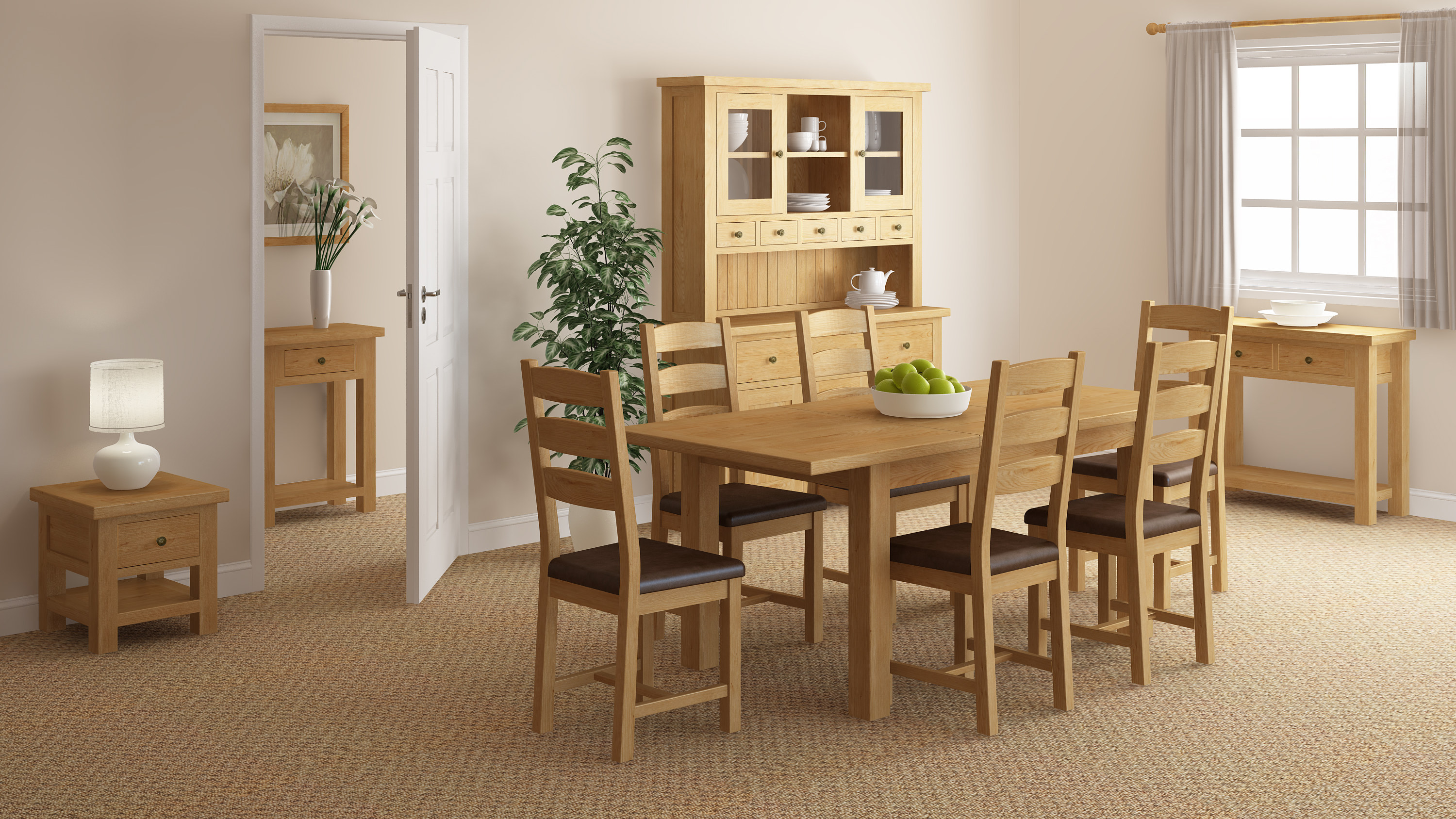 Rustique Home 100% Solid Oak Dining furniture. The shot has a dining table and chairs which are natural oak color. The Chairs and table are natural oak straight parrellel back panels. The dining room is completed by a bookcase, coffee table, a sideboard and a matching console table.