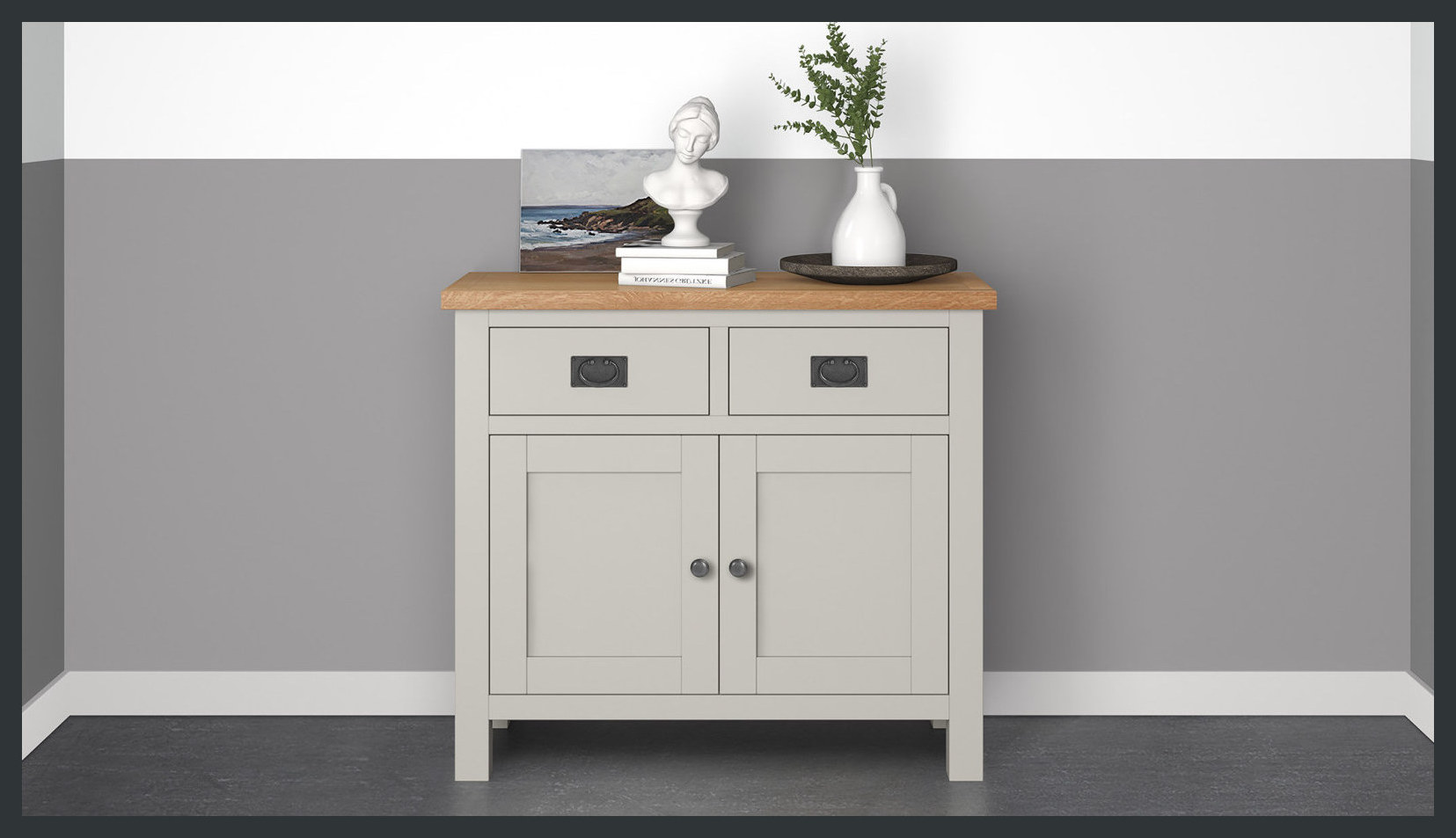 Rustique Home Florence Painted and Natural 100% Solid Oak Sidebaord. Antique Metal handles. Twin color, main body is painted grey and top is natural oak color. There are two drawers on the top and two storage cabinets at the bottom.