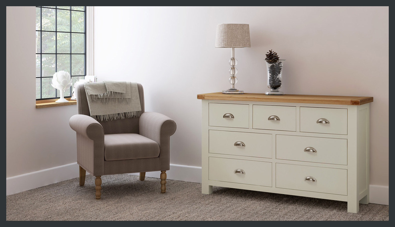 Rustique Home Florence Painted and Natural 100% Solid Oak Chest of Drawers. Metal handles. Twin color, main body is painted grey and top is natural oak color.
