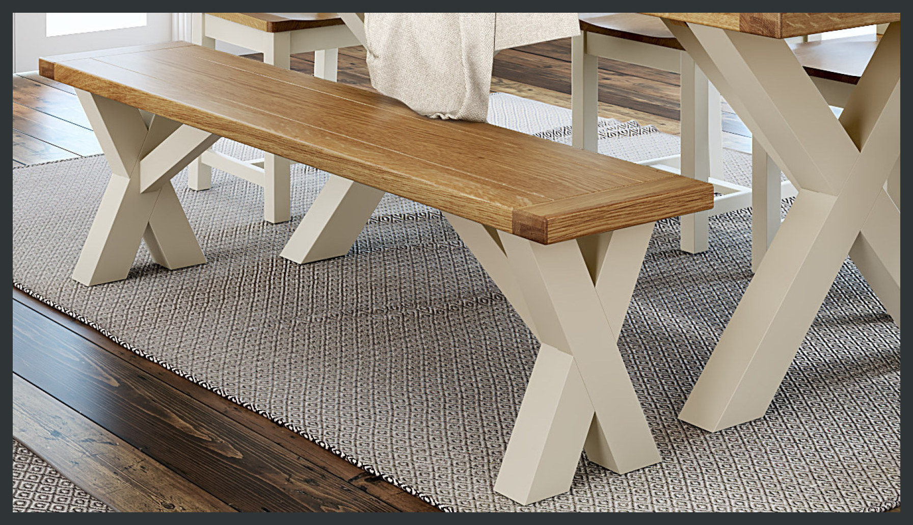 Rustique Home Florence Painted and Natural 100% Solid Oak cross legged bench. Two colors, legs are painted grey and the seat is natural oak color.