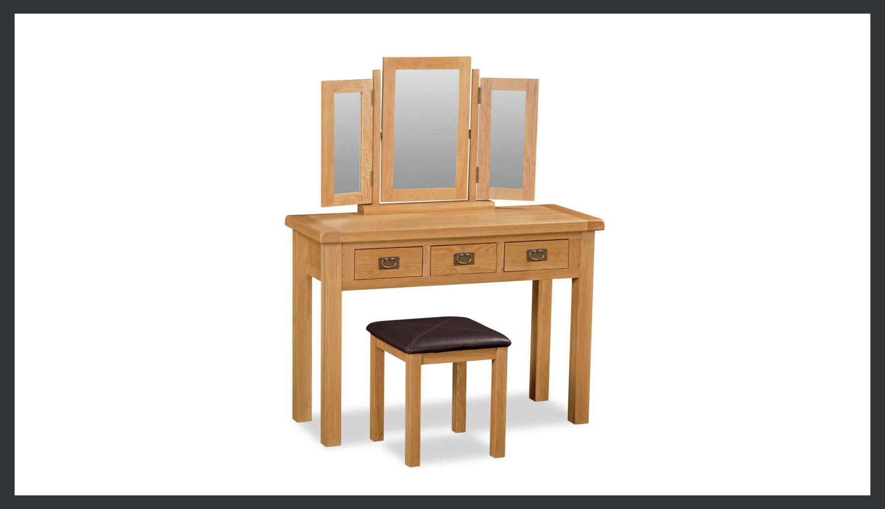 Rustique Home London Oak 1005 Solid wood in natural oak color. Three panels of mirrors at an angle sitting on top of natural oak dressing table with a seat