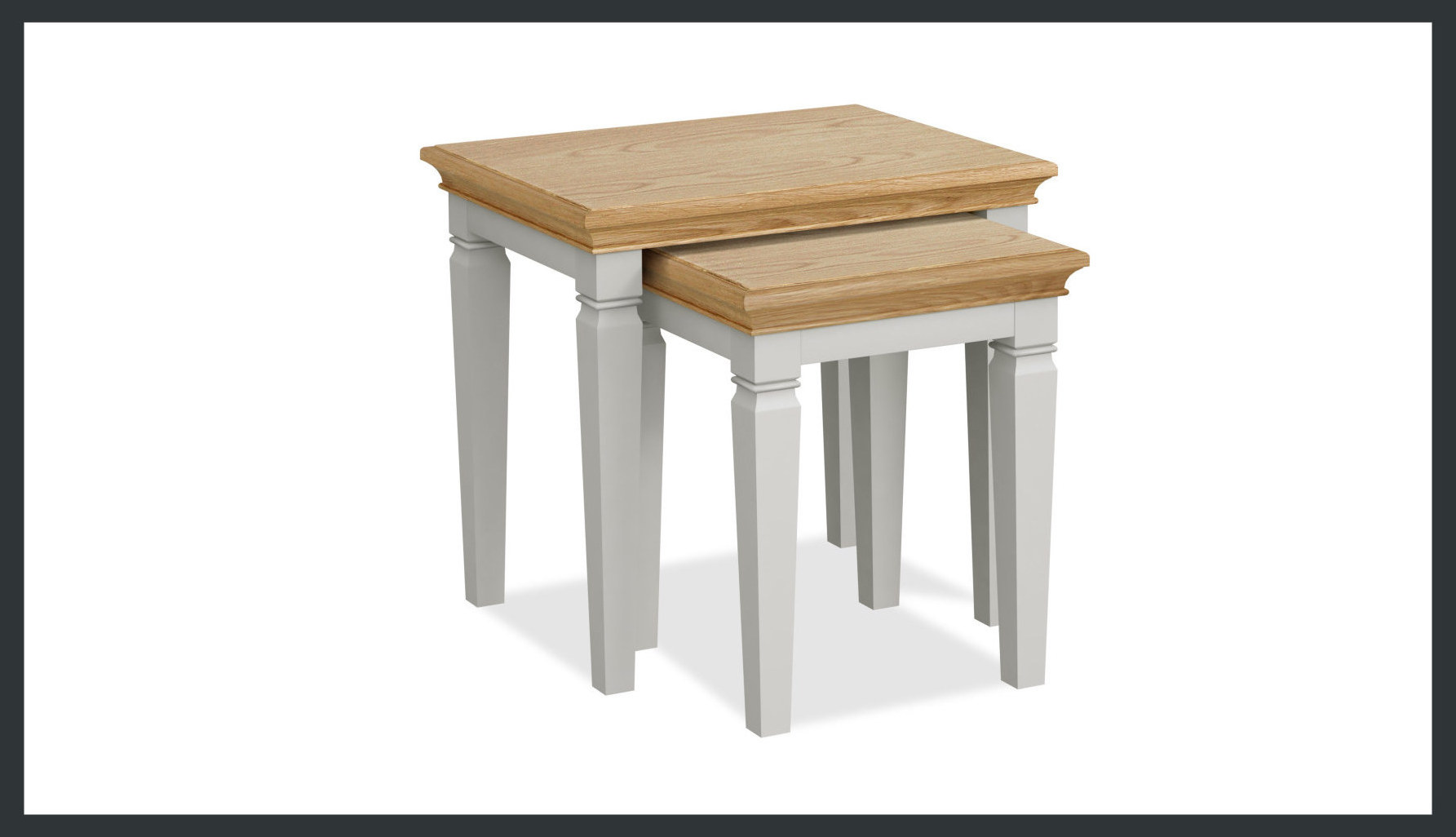 Rustique Home Florence Painted and Natural 100% Solid Oak coffee table. A pair of stackable tables that nest in to each other. Two colors, mainly the legs are painted satin grey and the top is natural oak color.