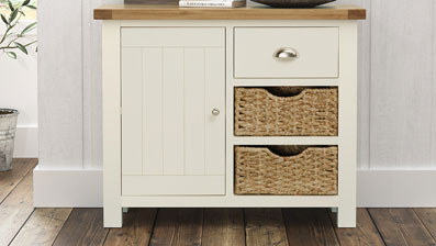 Two tone Painted Cream and Natural Rustic Oak Sideboard