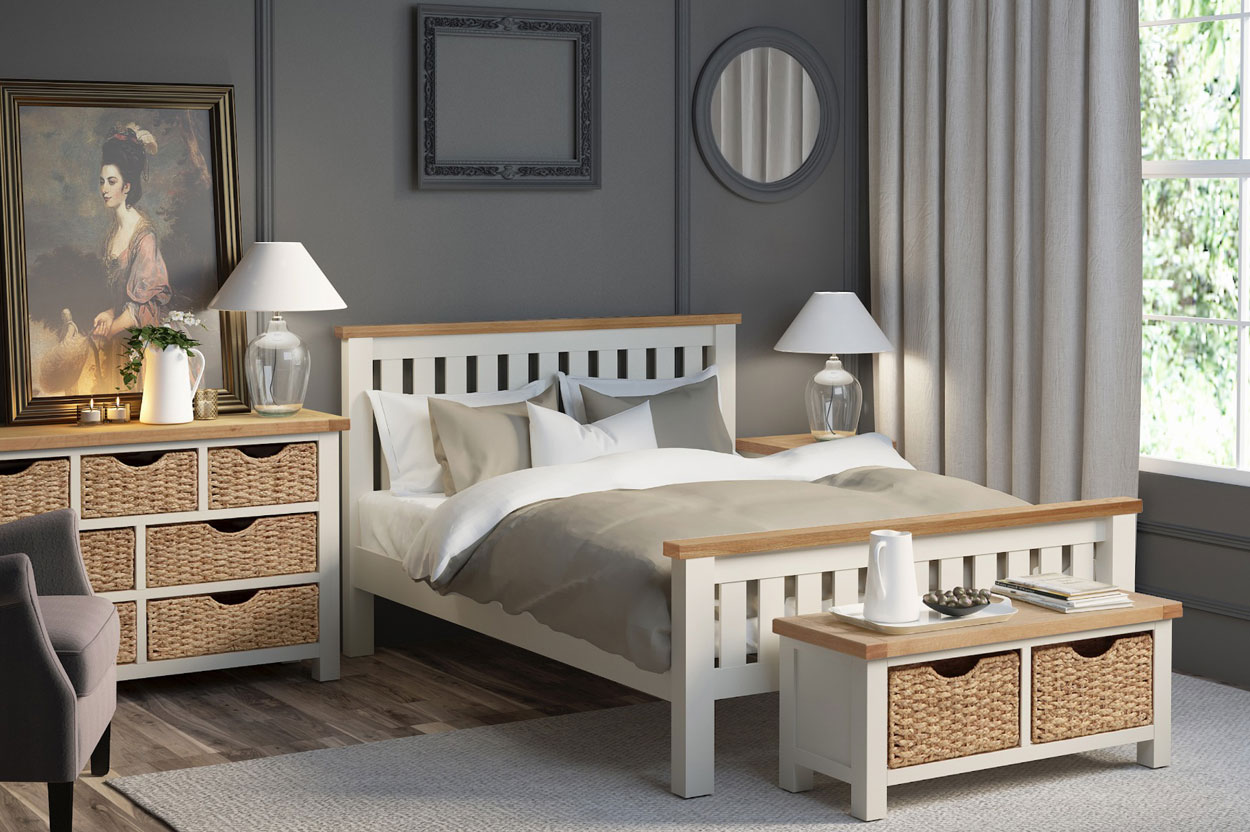 Two tone painted rustic bed of chunky proportions in creme paint and natural oak rustic colour