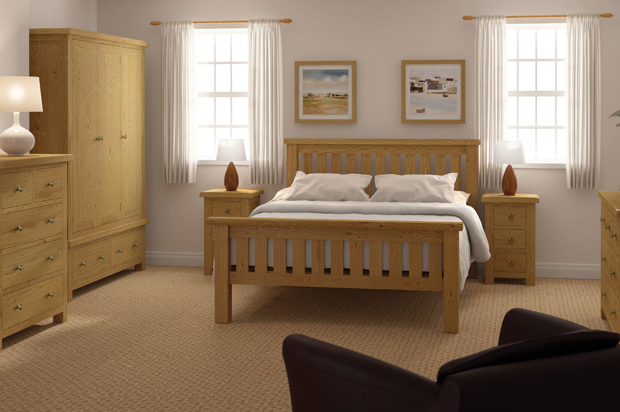 Solid Oak Bed with chunky proportions and natural rustic look