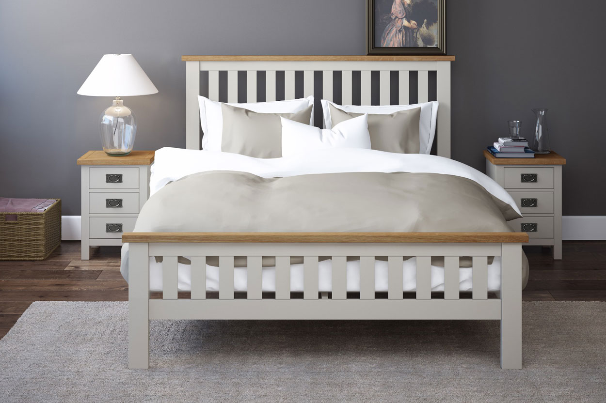 Two tone painted rustic bed in grey paint and natural oak rustic colour