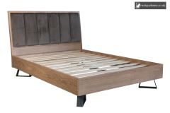 Aged Oak Double 4ft 6in Bed side view