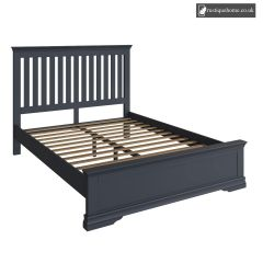 Burnham Midnight Grey Kingsize Double 5ft Bed hand painted side view