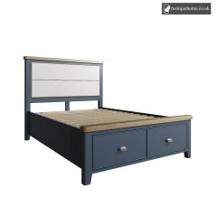Denham Blue Double 4ft 6in Bed With Fabric Headboard And Drawer Footboard Set