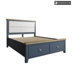 Denham Blue Kingsize Double 5ft Bed With Fabric Headboard And Drawer Footboard Set