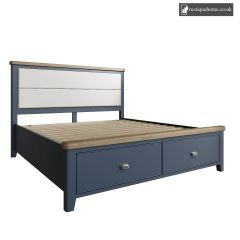 Denham Blue Super Kingsize 6ft Bed With Fabric Headboard And Drawer Footboard Set