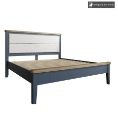 Denham Blue Super Kingsize 6ft Bed With Fabric Headboard And Low End Footboard Set