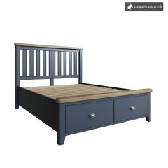 Denham Blue Kingsize Double 5ft Bed With Wooden Headboard And Drawer Footboard Set