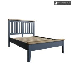 Denham Blue Double 4ft 6in Bed With Wooden Headboard And Low End Footboard Set