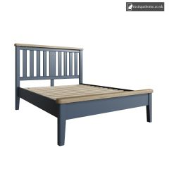 Denham Blue Kingsize Double 5ft Bed With Wooden Headboard And Low End Footboard Set