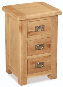 London Oak 3 Drawer Bedside Natural Rustic Oak Hard waxed finished