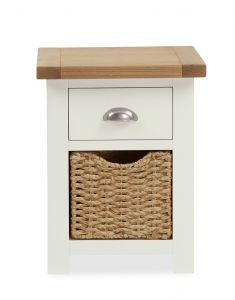 Florence Bedside With Basket Two Tone, Soft Cream and Natural Oak Soft Cream hand painted finished