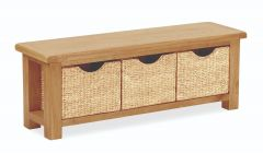 London Oak Bench With Baskets Natural Rustic Oak Hard waxed finished