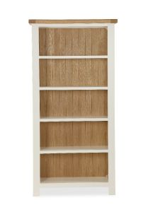 Florence Large Bookcase Two Tone, Soft Cream and Natural Oak Soft Cream hand painted finished