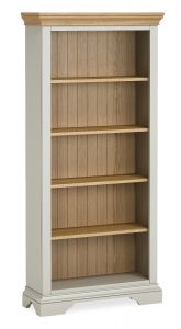 Sicily Large Bookcase Two Tone, Soft Grey and Natural Oak Hand painted soft grey finished