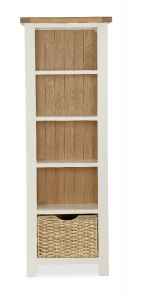 Florence Slim Bookcase Two Tone, Soft Cream and Natural Oak Soft Cream hand painted finished