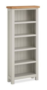 Cannes Slim Bookcase Two Tone, Soft Grey and Natural Oak Soft grey hand painted finished