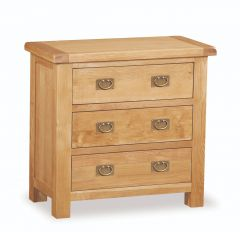 London Oak 3 Drawer Chest Natural Rustic Oak Hard waxed finished