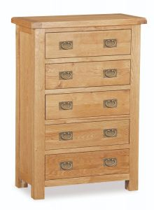 London Oak 5 Drawer Chest Natural Rustic Oak Hard waxed finished