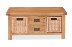 London Oak Large Coffee Table With Baskets Natural Rustic Oak Hard waxed finished