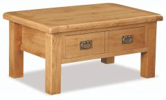 London Oak Coffee Table With Drawer Natural Rustic Oak Hard waxed finished