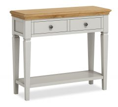 Sicily Console Table Two Tone, Soft Grey and Natural Oak Hand painted soft grey finished