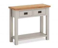 Cannes Console Table Two Tone, Soft Grey and Natural Oak Soft grey hand painted finished