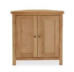 London Oak Lite Corner Cupboard Natural Rustic Oak Hard waxed finished