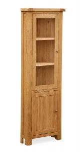 London Oak Corner Display Cabinet Natural Rustic Oak Hard waxed finished