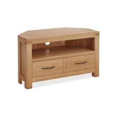 Roma Corner Media Stand Natural Rustic Oak Hard waxed finished