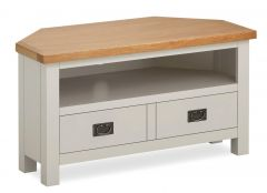 Cannes Corner Media Stand Two Tone, Soft Grey and Natural Oak Soft grey hand painted finished