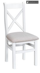 Bucks White Cross Back Chair Fabric - Old white and Lime washed Oak