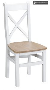 Bucks White Cross Back Chair Wooden - Old white and Lime washed Oak