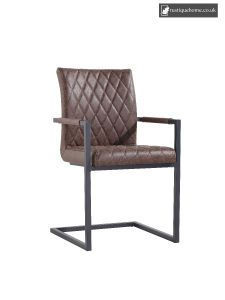 Chair Collection Diamond Stitch Carver Chair - Brown and Graphite