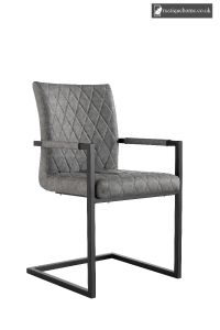 Chair Collection Diamond Stitch Carver Chair - Grey and Graphite