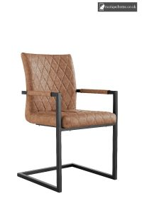 Chair Collection Diamond Stitch Carver Chair - Tan and Graphite