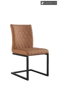 Chair Collection Diamond Stitch Dining - Tan and Graphite