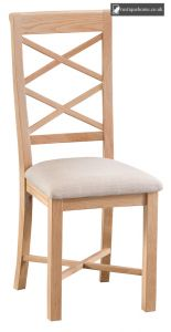 Light Oak Double Cross Back Chair With Fabric Seat