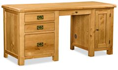 London Oak Double Desk Natural Rustic Oak Hard waxed finished