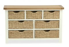 Florence 3 + 4 Drawer Chest With Baskets Two Tone, Soft Cream and Natural Oak Soft Cream hand painted finished