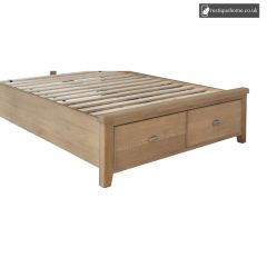 Smoked Oak Double 4ft 6in Drawer Footboard And Side Rails Set