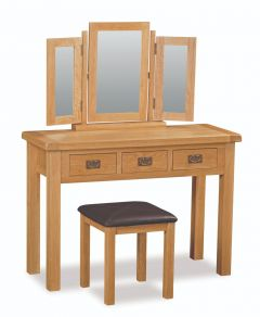 London Oak Wide Dressing Table Only Natural Rustic Oak Hard waxed finished